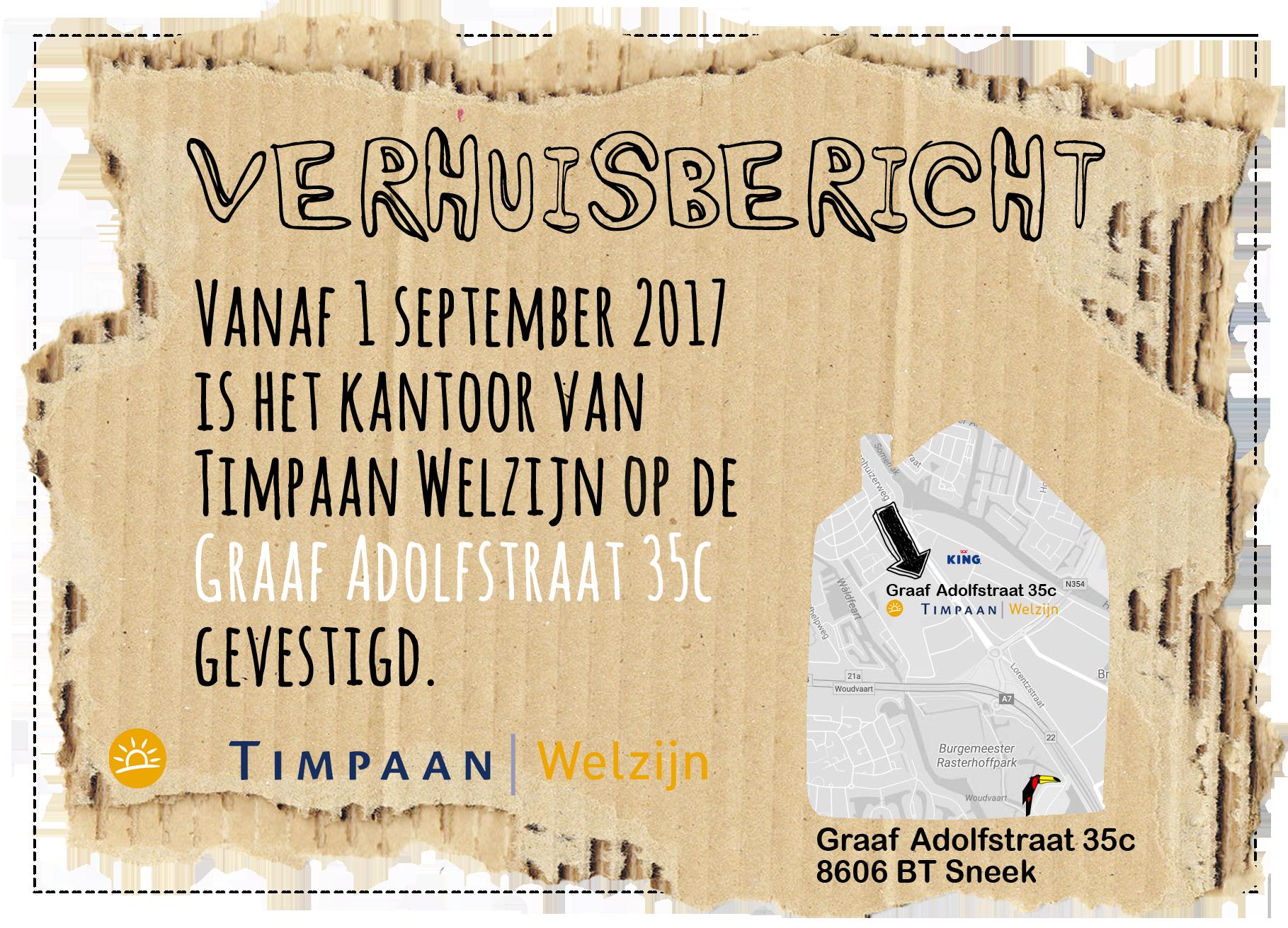 Timpaan Welzijn gaat verhuizen!